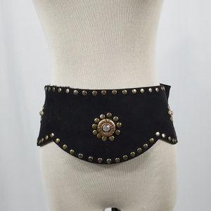 French-Made Black Suede Elastic-Belt